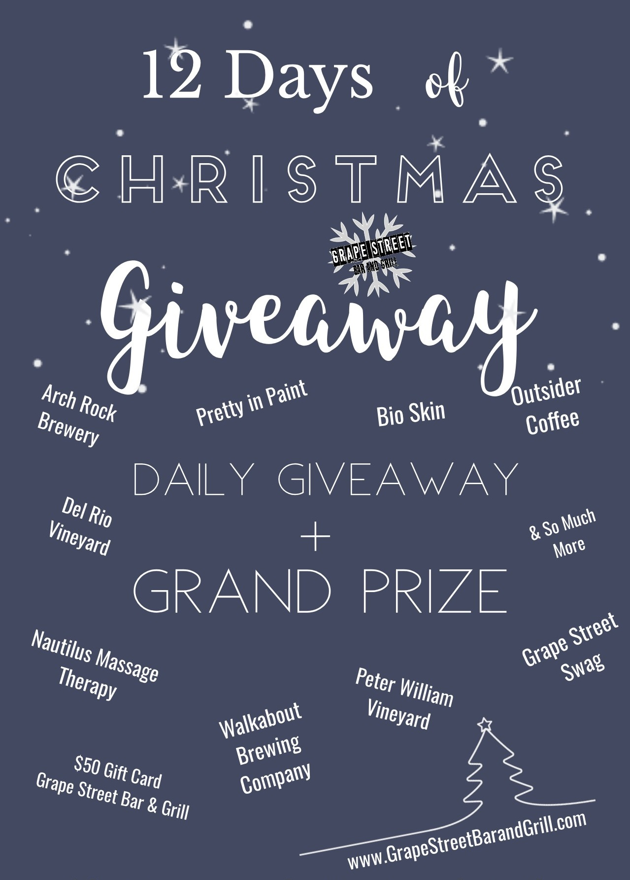 12 Days of Christmas Grape Street Bar and Grill Giveaway cropped